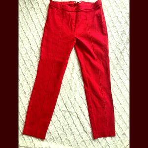 Red Skinny leg Textured Pants